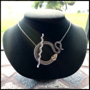 Silver snake toggle clasp choker necklace